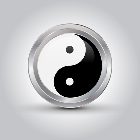 glossy Ying yang symbol, vector illustration with shadow Çizim