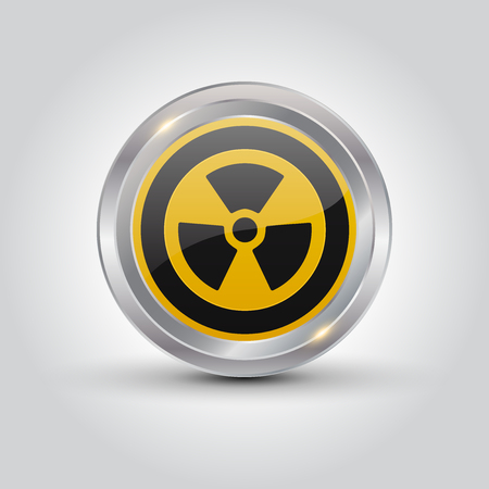 caution chemistry: Nuclear sign button on white background, Vector Illustration. Illustration