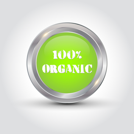 100% organic badge, vector illustration