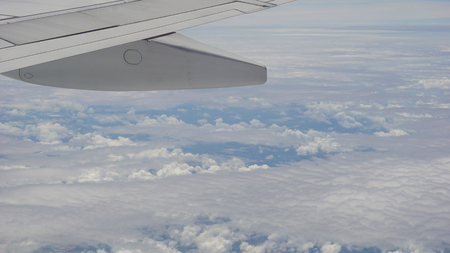 view from the airplane window, blue sky and clouds Stok Fotoğraf