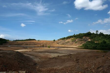 The Impact of coal mining on the environment. The mining location was abandoned without reclamation. Location: Sangatta, East Kalimantan/Indonesia.