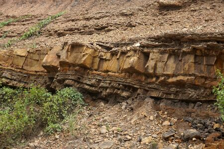 layers of sedimentary rock outcrops,  Sandstone, silt outcrops. Location: Sangatta, East Kalimantan/Indonesia Standard-Bild