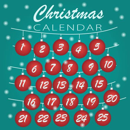 Merry Christmas. Advent calendar  Holiday template with Christmas balls  numbers for Christmas calendar or daily preparation schedule. Vector Illustration