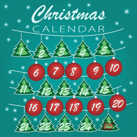 Merry Christmas. Advent calendar  Holiday template with Christmas balls  and trees numbers for Christmas calendar or daily preparation schedule. Vector Illustration Illusztráció