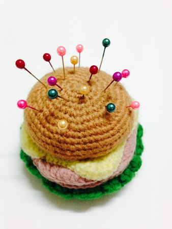 d i y: Crochet burger Stock Photo