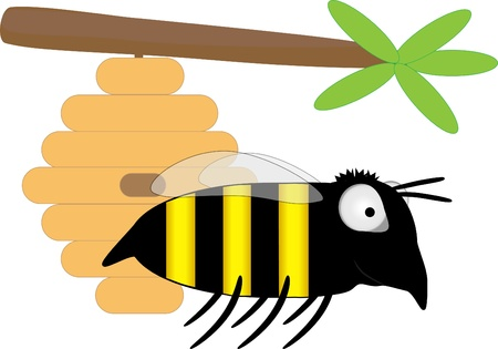 Bee and hanging beehive Vector