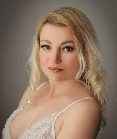 nightgown: Blonde in white nightgown