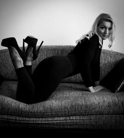Blond woman seducing