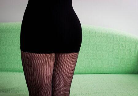 mini: Mini skirt and fishnet
