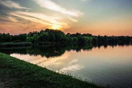 serbia: Sunset and Borkovac Lake in Ruma, Serbia
