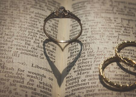 Rings, love and heart shaped shadow