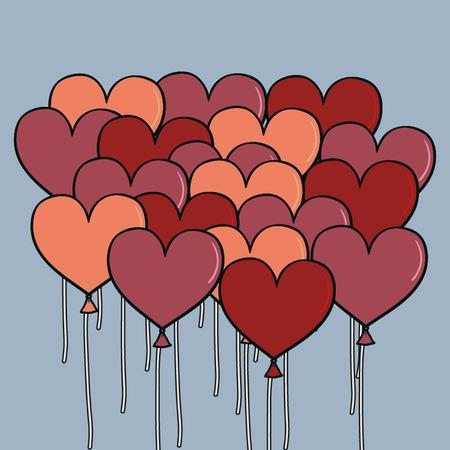 pink heart: Pink Heart Balloons ,vector background