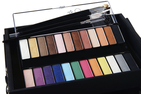 cosmetic case with several shades of eye shadow and brushes photo
