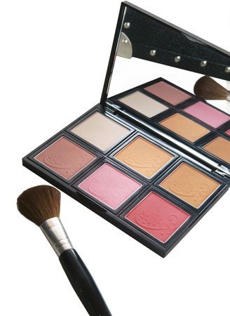 cosmetic, eye shadow case and brushes photo