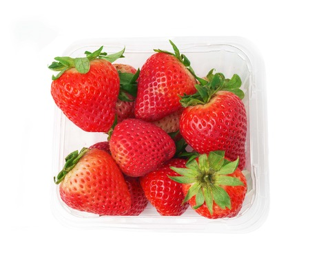 strawberry in plastic box photo