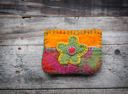 duffel: Fabrics bag decorated with embroidery handmade
