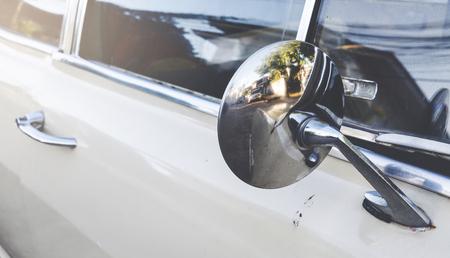 collectibles: Close up mirror old car retro