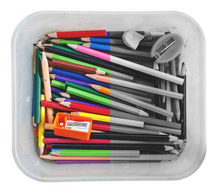 sharpener: Crayon and sharpener in a box on the  white background