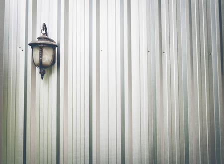 corrugated steel: Wall corrugated steel and lamp background