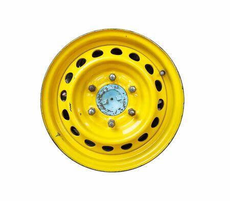 recap: Yellow color of retro car wheels on white background