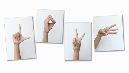 Picture Sign language LOVE on white background