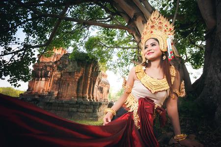 apsara: Beautiful Girl in Apsara at castle public  Thailand Stock Photo
