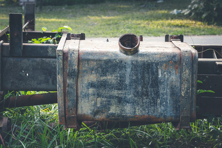 car gas: Old car gas tank dilapidated with rust Stock Photo
