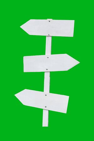 sign post: White direction sign, guide post on green background isolate
