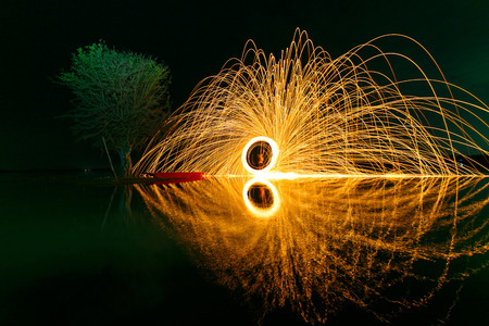 Reflection of swing fire on water