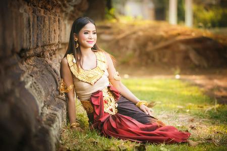 Beautiful Girl in Apsara at castle public  Thailand Stock Photo