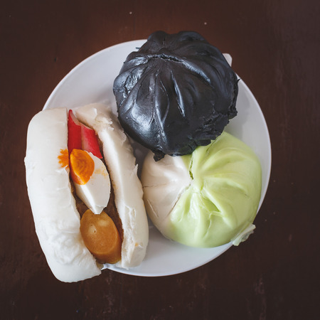 Steamed dumpling many flavors Stock Photo