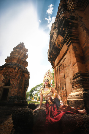 Beautiful Girl in Apsara at castle public  Thailand Stock Photo