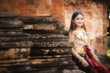 amiable: Beautiful Girl in Apsara at castle public  Thailand Stock Photo