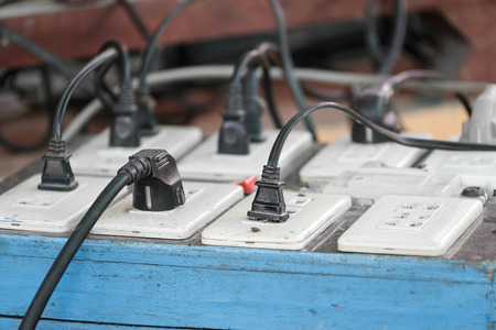 multiple: Multiple electricity plugs socket stall