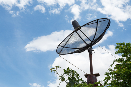 satelite: Satellite dishes communication technology network at countryside