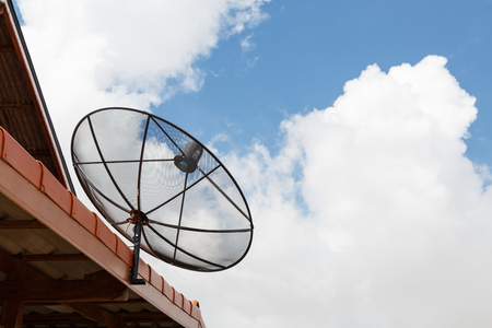 Satellite dishes communication technology network at countryside