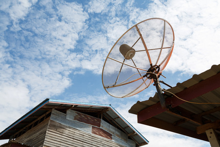 airwaves: Satellite dishes communication technology network at countryside