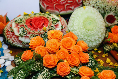 carve: Beautiful Carve Fruit and Vegetable. Use decorative tableware Stock Photo