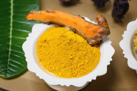 turmeric powder ingredients for the spa, scrub the skin healthy. From herbs like , ginger, quince, lime, salt. Stock Photo