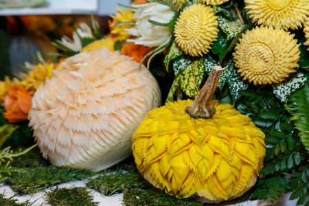 papaya flower: Beautiful Carve Fruit and Vegetable. Use decorative tableware Stock Photo