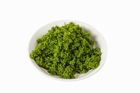 plancton: Las algas de agua dulce con una pequeña gránulos redondos. Cocinar delicioso, saludable. Foto de archivo