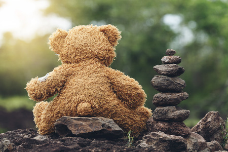 sward: Cute Teddy bear sitting on the rock with Stones stacked layers at forest Stock Photo