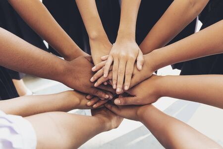 Many hands combined for be unite, Strength for success