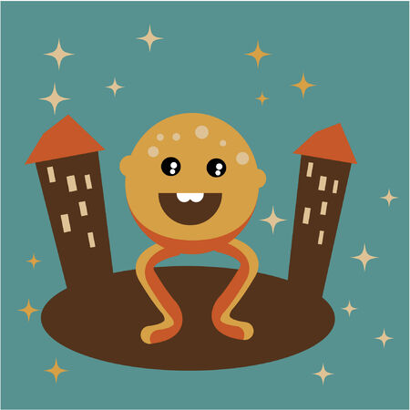 Vector illustration of happy strange monster in retro colours Vector