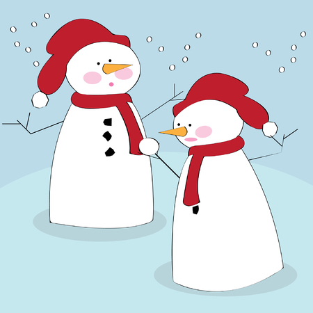 Vector illustration of snowmen in the snow Stock Vector - 4020240