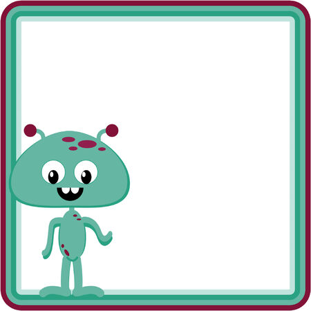 Vector illustration of happy alien in frame