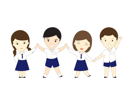 asian children: student cute vector Illustration