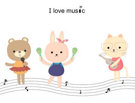 cartoon singing: animal cartoon vector Illustration