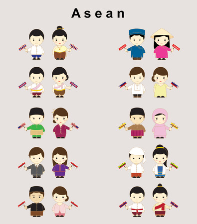 Asean boys and girls in traditional costume Illustration