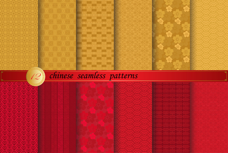 Chinese new year patterns, Pattern Swatches, vector, Endless texture can be used for wallpaper, pattern fills, web page,background,surface